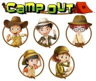 Ungar i safaridräkt på runda emblem vektor illustrationer