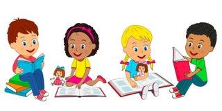 Ungar lästa böcker royaltyfri illustrationer