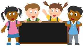 Ungar med Blackboardbanret Fotografering för Bildbyråer