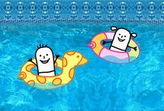 Ungar med boj i simbassäng vektor illustrationer