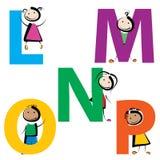 Ungar med bokstäver l-p Arkivbild