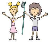 Ungar med den enorma tandborsten/tand- hygien stock illustrationer