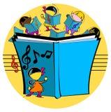 Ungar med den musikaliska boken Arkivfoto