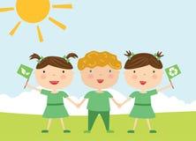 Ungar med ecoflaggor Arkivbilder