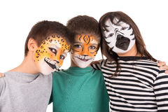 Ungar med framsida-målarfärg Royaltyfria Bilder