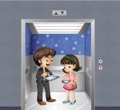 Ungar med grejer på hissen royaltyfri illustrationer