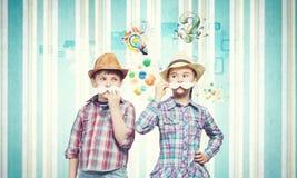 Ungar med mustaschen Royaltyfria Bilder