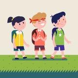 Ungar med ryggsäckar som går på utomhus- fotvandra tur stock illustrationer