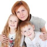ungar mother över white Arkivfoton