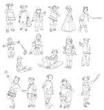 Ungar och behandla som ett barn konturer, skissar Royaltyfria Bilder