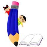 Ungar och blyertspenna Arkivfoton