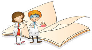 Ungar och bok royaltyfri illustrationer