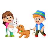 Ungar och deras husdjur stock illustrationer