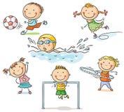 Ungar och deras sportaktiviteter royaltyfri illustrationer