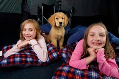 Ungar och en valp som campar i en tent Royaltyfri Fotografi