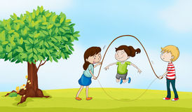 Ungar och ett träd vektor illustrationer