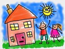 Ungar och hus royaltyfri illustrationer