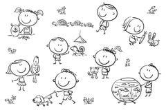 Ungar och husdjur stock illustrationer
