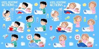 Ungar och hygien - åtta dagliga rutinmässiga handlingar stock illustrationer