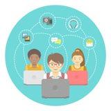 Ungar och internet stock illustrationer