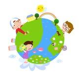 Ungar och jordklot royaltyfri illustrationer