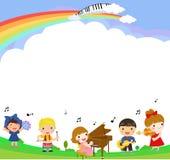 Ungar och musik Arkivbilder