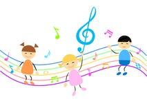 Ungar och musik royaltyfri foto