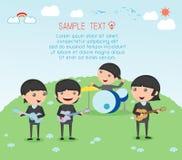Ungar och musik, vektorillustration av fyra flicka i en musikmusikband, barn som spelar musikinstrument, illustration av ungeplay vektor illustrationer