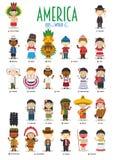 Ungar och nationaliteter av världsvektorn: Amerika stock illustrationer
