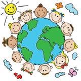 Ungar och planet royaltyfri illustrationer