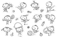 Ungar och sport royaltyfri illustrationer