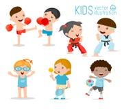 Ungar och sporten, ungar som spelar olika sportar på vit bakgrund, tecknad film lurar sportar, boxning, fotboll, tennis, Taekwond Royaltyfria Bilder