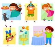 Ungar på Chanukkah vektor illustrationer
