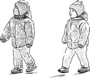 Ungar på en gå Fotografering för Bildbyråer