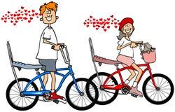 Ungar på förälskade cyklar stock illustrationer