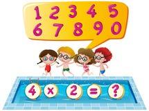 Ungar på simbassängen som räknar nummer royaltyfri illustrationer