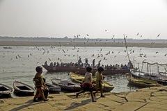 Ungar Playin på Ghatsen, Varanasi royaltyfri bild