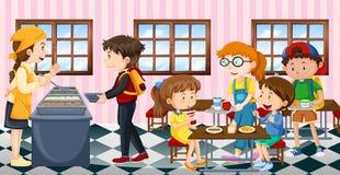 Ungar som äter lunch på kantin royaltyfri illustrationer