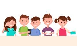 Ungar som använder deras grejer Barn och teknologibegreppsillustration Royaltyfria Bilder