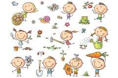 Ungar som arbeta i trädgården uppsättningen vektor illustrationer