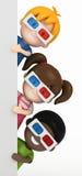 Ungar som bär exponeringsglas 3d och blankboard Arkivfoto