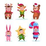 Ungar som bär juldräkter Lyckliga barn för tecknad film som hälsar jul Tecken för vektor för vinterferie royaltyfri illustrationer