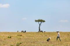 Ungar som bevittnar stor flyttning i Kenya arkivfoto