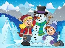 Ungar som bygger snögubbetemabild 2 royaltyfri illustrationer