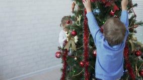 Ungar som dekorerar julgranen i ljust rum på dagen stock video