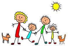 Ungar som drar - lycklig familj Arkivfoton