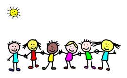 Ungar som drar - vänner Arkivbild