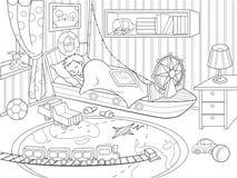 Ungar som färgar på temat av barndom, hyr rum vektor illustrationer