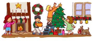 Ungar som firar jul (vektorn) vektor illustrationer