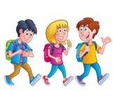 Ungar som går med ryggsäckar stock illustrationer